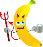 Devil banana holding beer Royalty Free Stock Photography
