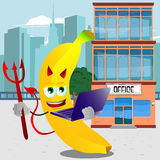 Devil banana holding laptop in front of an office building Royalty Free Stock Images