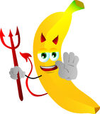 Devil banana holding a stop sign Royalty Free Stock Photography