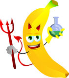 Devil banana holds beaker of chemicals Royalty Free Stock Images