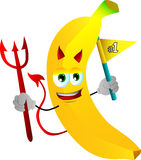 Devil banana sports fan with flag Stock Photography