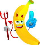 Devil banana sports fan with glove Royalty Free Stock Photos