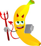 Devil banana using a tablet Royalty Free Stock Image