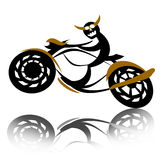 Devil biker on motorcycle. Wild reckless devil biker speed riding motorcycle over white background Royalty Free Stock Photos