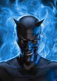 The devil in black. 3D render of grinning black devil and blue hellfire Stock Images