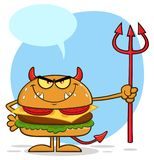 Devil Burger Cartoon Character Holding A Trident Royalty Free Stock Photos