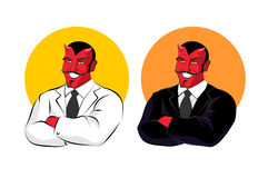 Devil in business suit. Red demon in white jacket. Satan with ho Royalty Free Stock Photo