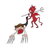Devil and businessman royalty free illustration