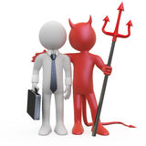 Devil with a businessman who has a deal royalty free illustration