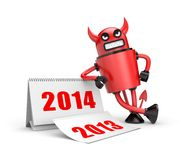 Devil with calendar. Illustration for New Year and Christmas Royalty Free Stock Image