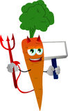 Devil carrot with blank board Stock Image