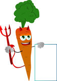 Devil carrot with blank board Stock Photo