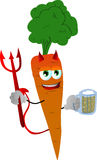 Devil carrot holding beer Royalty Free Stock Image