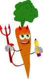 Devil carrot holding a pencil Royalty Free Stock Photo