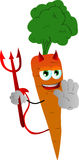 Devil carrot holding a stop sign Stock Photo