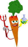 Devil carrot holds beaker of chemicals Stock Photos