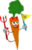 Devil carrot sports fan with flag Stock Photos