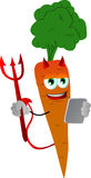 Devil carrot using a tablet Royalty Free Stock Image