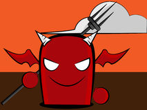 Devil cartoon. An illustration of a cool red devil holding a pitchfork w/a cloudy background Stock Photo