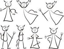 Devil - cartoon humorous set. Vector outlines of devils silhouettes - happy and bad Royalty Free Stock Photo