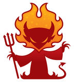 Devil Character. Cartoon vector drawing of a devil with flames around his head holding a pitchfork royalty free illustration