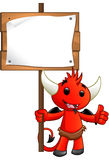 Devil Character - Holding A Sign Stock Images