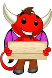 Devil Character - Holding Wooden Sign Stock Image