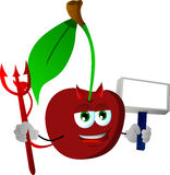 Devil cherry with blank board Royalty Free Stock Image