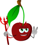 Devil cherry gesturing the peace sign Royalty Free Stock Photo