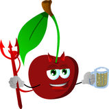 Devil cherry holding beer Royalty Free Stock Photo