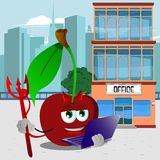 Devil cherry holding laptop in front of an office building Stock Images