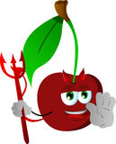 Devil cherry holding a stop sign Royalty Free Stock Images