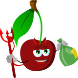 Devil cherry holding strong drink Royalty Free Stock Photo
