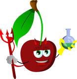 Devil cherry holds beaker of chemicals Stock Images