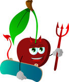 Devil cherry with skateboard Royalty Free Stock Photography