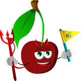 Devil cherry sports fan with flag Royalty Free Stock Photography