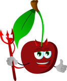 Devil cherry with thumb up Stock Image