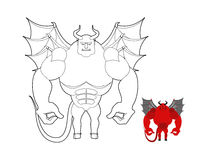 Devil coloring book. Red demon with wings and horns. Helluva ter Royalty Free Stock Photography