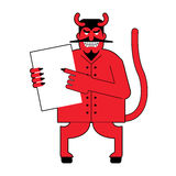 Devil and  contract.  Scary Mephistopheles offers deal to sign i Stock Images