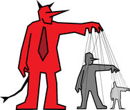 Devil controlling other people. Businessman devil manipulating other people Stock Images