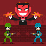 Devil controls soldiers puppets. Illustration devil controls soldiers puppets, format EPS 8 Royalty Free Stock Image