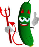 Devil cucumber or pickle with attitude Royalty Free Stock Image