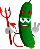 Devil cucumber or pickle gesturing the peace sign Royalty Free Stock Images