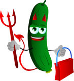 Devil cucumber or pickle holding an empty bag Stock Photography