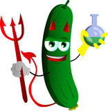 Devil cucumber or pickle holds beaker of chemicals Royalty Free Stock Photography