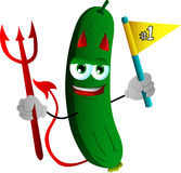 Devil cucumber or pickle sports fan with flag Stock Images