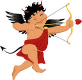 Devil Cupid. Devilish looking Cupid in a red tunic with horns black wings and tail, smiling, holding a bow and arrow Stock Image