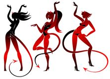Devil dancing girls silhouettes set Royalty Free Stock Photos