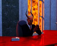 Devil or devious business man with background Royalty Free Stock Photo