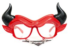 Devil disguise masquerade glasses. Isolated on a white background stock photos